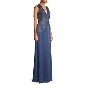 BCBG Maxazria Long Slate Embroidered Gown NWT 12